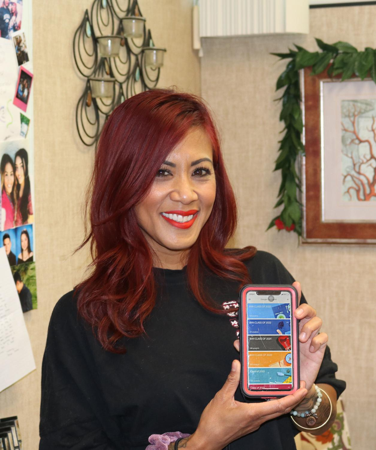 New BVH counselor Lalaine Torres excitedly shows off her google classroom app. The new system, established by Torres, hopes to facilitate the spread of flyers and announcements to students of all four classes.