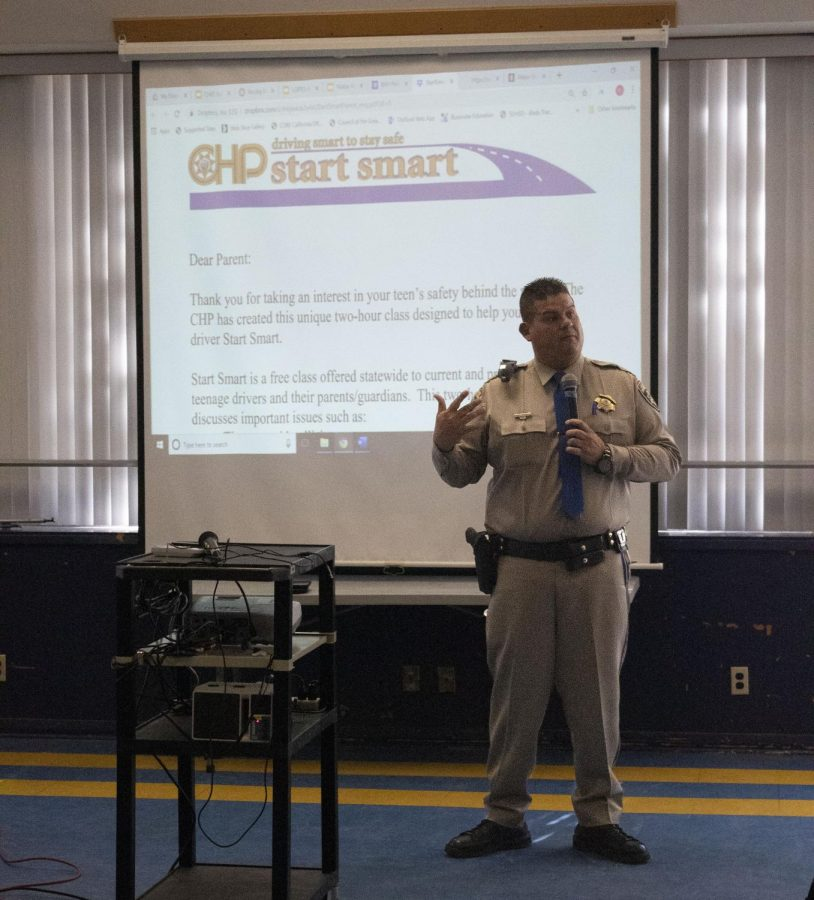 CHP Public Informations Officer Jake Sanchez gives a presentation about the Smart Start driving etiquette program in the BVH cafeteria. The program aims to promote driving courtesy in parents and students alike.