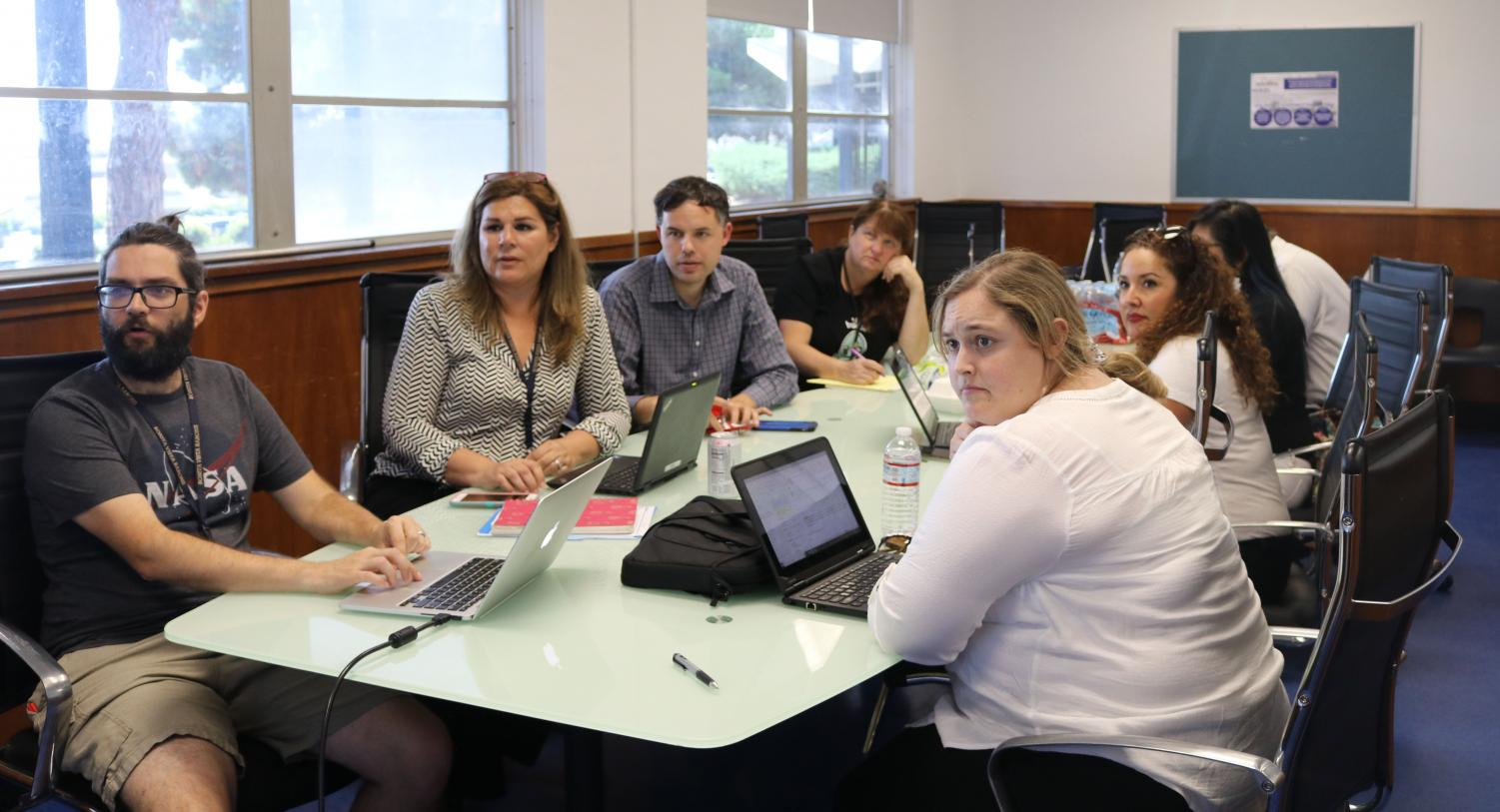 The College-Going Culture Committee gathers on Sep. 12 for their monthly meeting to discuss ways they can motivate students to apply for college and pursue at least a four year college education after high school.