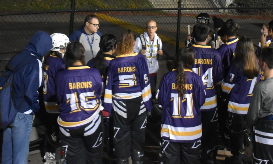 Roller hockey coach Keith Quigley speaks to his team after their first game of the 2019-2020 season against Sweetwater High School. This game took place on Dec. 3 and ended with a 5-9 loss for BVH.