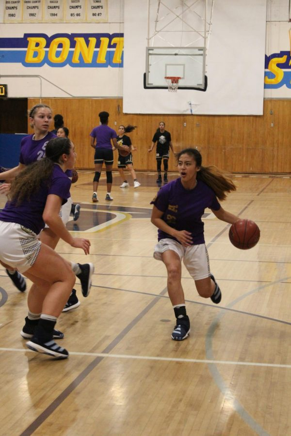 Junior+shooting+guard+Julia+Cosalan+goes+to+attack+the+basket+during+pre-game+warm+ups.+The+whole+team+wore+purple+shirts+with+different+writing+they+made+themselves+in+honor+of+Kobe+and+Gianna+Bryants+passing.