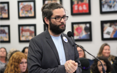 International Baccalaureate (IB) coordinator, Jared Phelps speaks in front of the Sweetwater Union High School District (SUHSD) board on officials on Jan. 28. He expressed his concern regarding the future of his position at Bonita Vista High.
