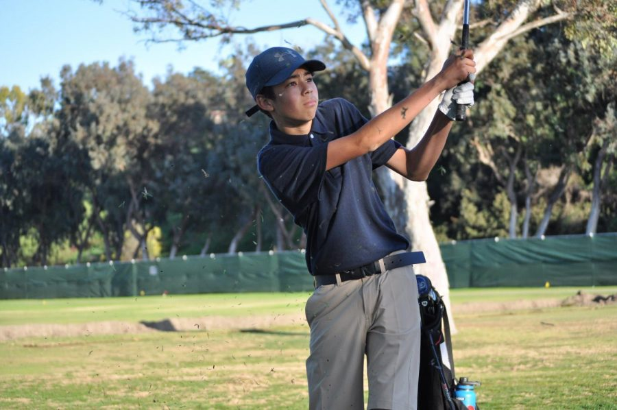 Freshman+Alejandro+Sanchez+delivers+a+long-distance+shot+towards+the+end+of+the+match.+He+expressed+contentment+in+this+shot%2C+which+he+felt+defined+his+performance.