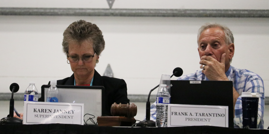 SUHSD Superintendent Karen Janney, Ed.D (left) sits next to Board of Trustees President Frank Tarantino while a speaker addressed the Board. Tarantino was one of three board members to vote in favor of the Resolution No. 4658.