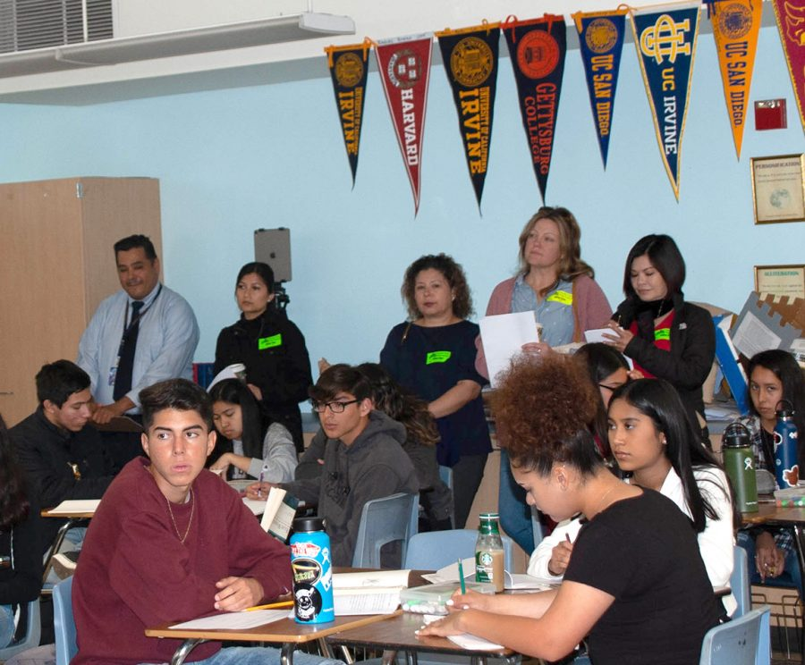 On March 4, 2020, principal Roman Del Rosario, Ed.D, and parents from students in BVH observe Kalie Espinoza's English 10 Accelerated classroom. Later, parents shared their feedback with Del Rosario.