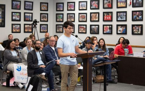 Senior Timothy Tucker speaks to the SUHSD Board of trusties against the proposed plan of cutting the International Baccalaureate (IB) Coordinator position at BVH on Feb. 27. Tucker is just one of several other students, teachers and former alumni who spoke at the budget meeting.