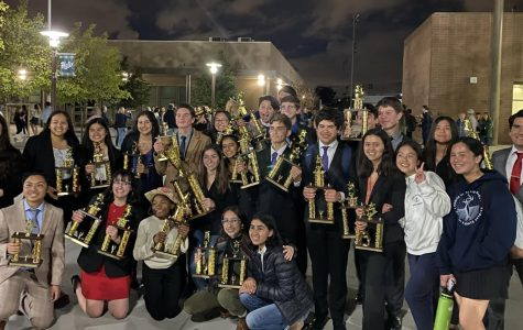 The BVH Speech and Debate team celebrates after qualifying 16 competitors for the California High School Speech Association (CHSSA) State Championship tournament. The team took home trophies for individual placement and for second place overall in Sweepstakes.
