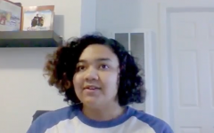 Bonita Vista High alumna Naya O'Reily while on a Zoom interview call. O'Reily expressed her concern about how COVID-19 regulations will impact her future living situation.