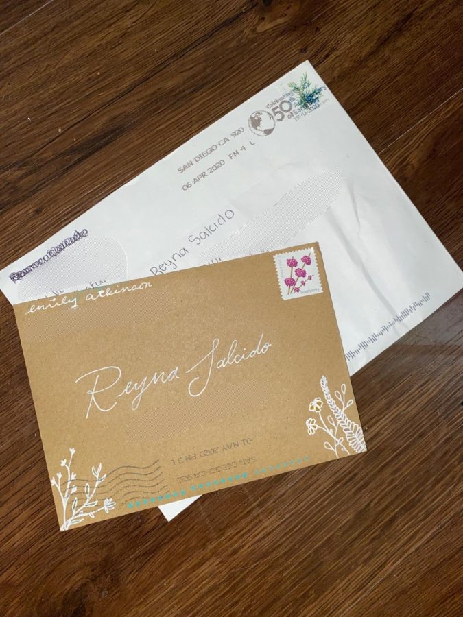 Resolve  Letters received by Reyna Salcido from friends during the lockdown of California. Photo was edited to protect addresses of students.