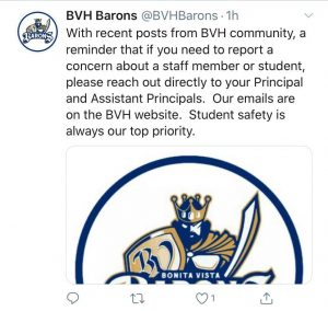 On Aug. 12 BVH responded to the discussions regarding sexual assault and harassment allegations within BVH on both Twitter and Instagram. The posts direct students to reach out to administration when concerned about student safety.