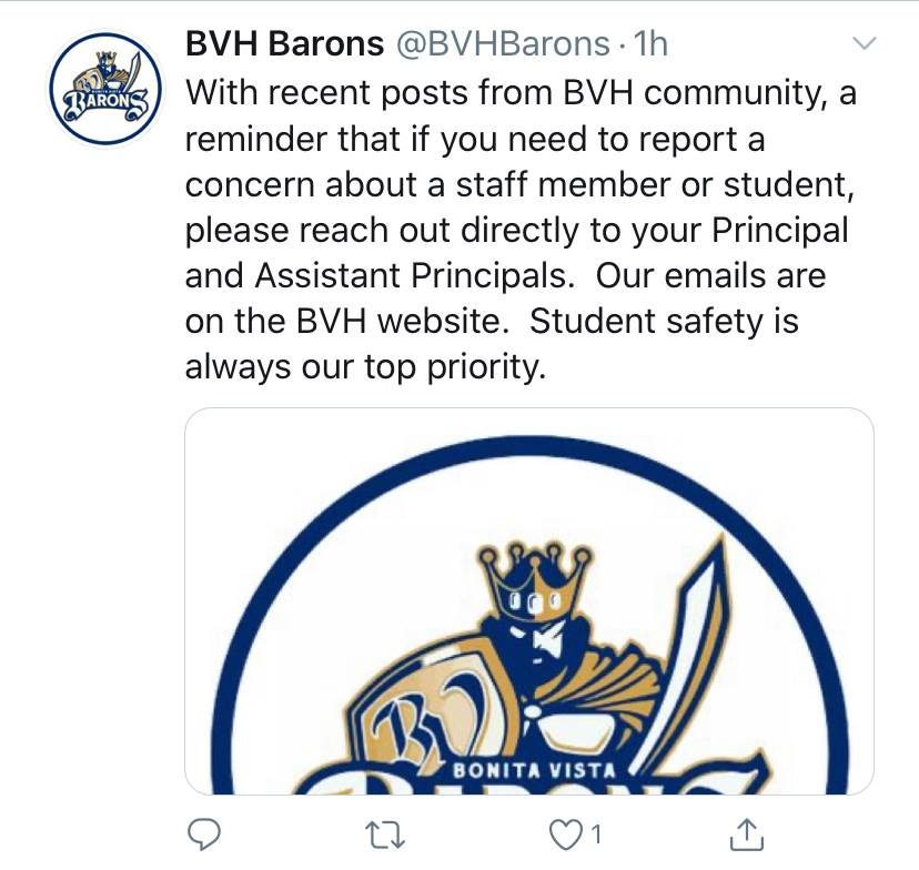 On+Aug.+12+BVH+responded+to+the+discussions+regarding+sexual+assault+and+harassment+allegations+within+BVH+on+both+Twitter+and+Instagram.+The+posts+direct+students+to+reach+out+to+administration+when+concerned+about+student+safety.+
