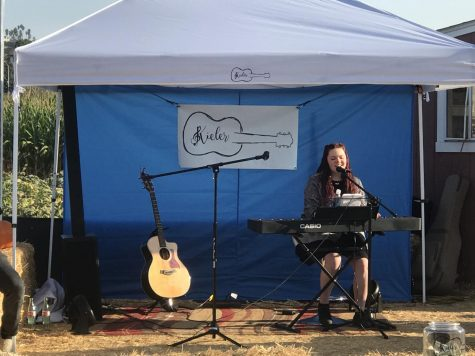 BVH Kieler Muller sings at the Pumpkin Patch in Bonita. Muller hopes that when the pandemic resides, she will be able to perform in front of an audience more often.