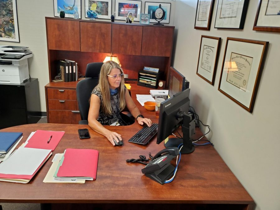 BVH psychologist Martha Ingham, Ed.D., sits in her office at BVH. Ingham frequents BVH 5 days a week to finish her work.