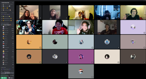 Anime Club members pose for a photo to commemorate their first ever watch party on Discord.