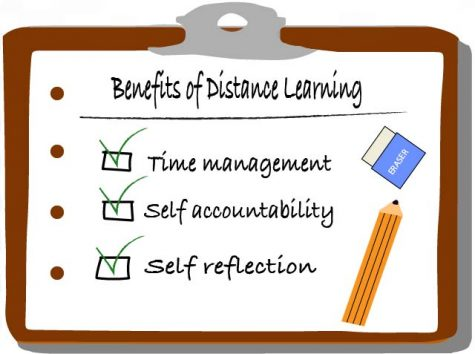 Educational benefits to distance learning are time management, self accountability and self reflection, which are all skills that are very useful in college.