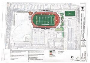 The renovation plans for the BVH stadium, which depict additions such as a turf field, rubberized surfacing for the track and expanded bleachers.