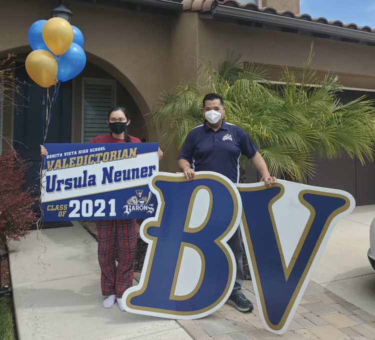Senior Ursula Neuner is class of 2021 valedictorian. BVH administration congradulated her with a suprise visit to her house.