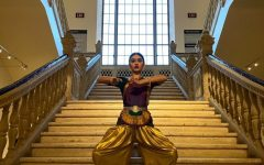 Senior Anoushka Savgur performs the traditional Indian dance known as Bharatanatyam at the Natesha School of Bharatanatyam. This performance is one of Savgur's first performances in eight months due to the COVID-19 pandemic.