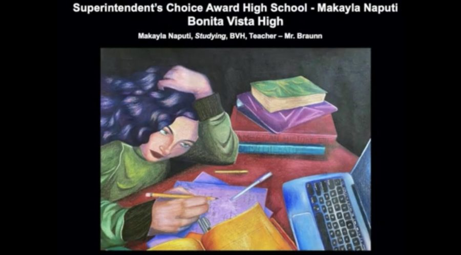 Senior Makayla Naputi won the Superintendent's Choice Award for her drawing Studying, which depicts a student in remote learning.