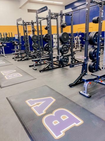 "Several new pieces of equipment have been added to the Bonita Vista High weight room. These includes weights of different kinds and mats labeled ""BV""."