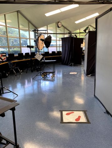 BVH Picture Day was held in the library. Student stood on the red feet when taking their photo socially distanced from the photographer.