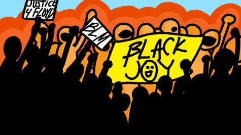 """The flag reading """"BLACK JOY"""" was held in the crowd that waited for the verdict, which was filmed by CNN and aired on TV. This verdict was televised on several news sources on April 20."""