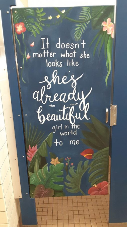 With students returning to the Bonita Vista High (BVH) campus, Associated Student Body (ASB) art commissioners took it upon themselves to paint murals on the girls bathroom stalls in the 300s building. ASB art commissioners hope to inspire body positivity and create a welcoming presence in the bathrooms.
