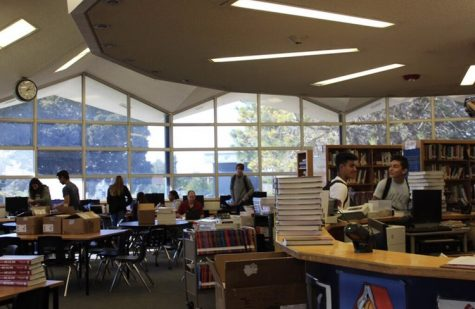Prior to COVID-19, students fill the Bonita Vista High library on a school day. Students will now have access to library content online.