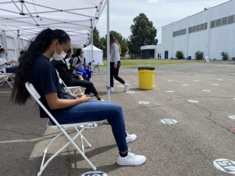 Bonita Vista High (BVH) athlete Jordan Whitehead waits for her COVID-19 test results next to the weight room. Recently updated guidelines state that protocols for afterschool and extracurricular activity regarding COVID testing will be forthcoming in the wake an increase in cases.