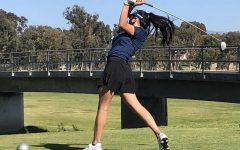 Senior Madison Bianes takes her first swing at Bonita Golf Course in a match against Otay Ranch High. BVH won this match, taking home their first win of the season.