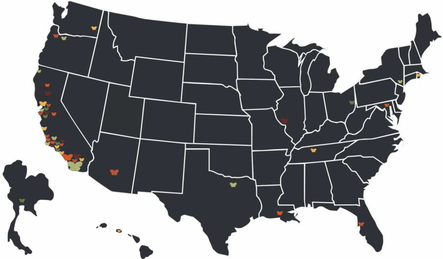 This map indicates the different areas in the United States and Thailand where Bonita Vista High seniors will be attending community colleges and four-year universities.