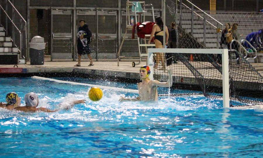 During the BVH vs. SH game, senior and goalie Robert Yetter (1) legs up out of the water to block the ball. Yetter successfully blocked many shots keeping Bonita in the lead with a final score of 19 to 4.