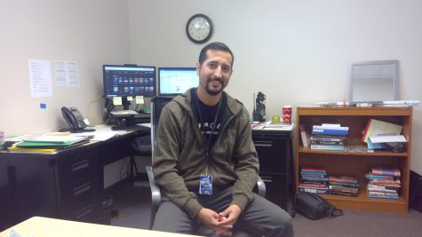 Manuel Paul, one of the two new psychologists at Bonita Vista High school, smiles generously after his interview.
